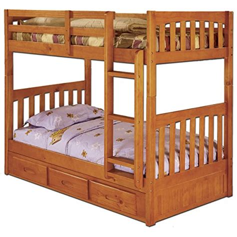 Separating Bunk Beds Review Brown Wood Pine 3 Drawer Bunk Bed With Separate 6 Drawer
