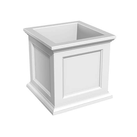 Mayne Nantucket 15 1 2 In Square White Plastic Column Square White Planter