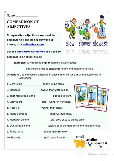 Adjectives That Compare Worksheets by Comparison Of Adjectives Worksheet Free Esl Printable