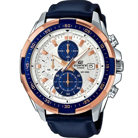 Casio Edifice Efr539 Leather casio efr539 dy blueleather chronograph for