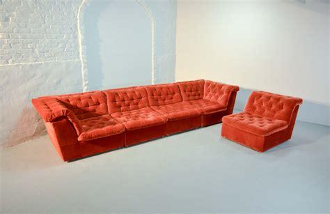 red modular sofa mid century bright vermilion red velvet 1970s modular sofa