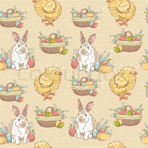 vintage easter pattern easter vintage hand drawn seamless pattern with chicken