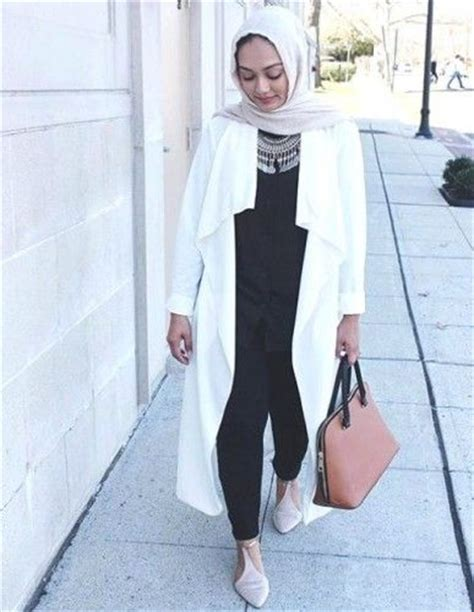 Dress Casual Putih Motif Kotak Korean Style white jacket and modest http www justtrendygirls and modest