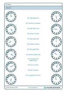 imagenes hora en ingles ficha de unir el reloj con la hora en ingl 233 s para primaria