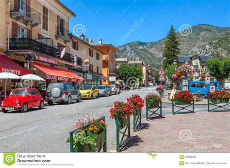French European House Plans street view of small french village of tende editorial