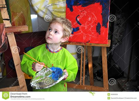 painting 4 year olds painting boy stock photo image 49360059