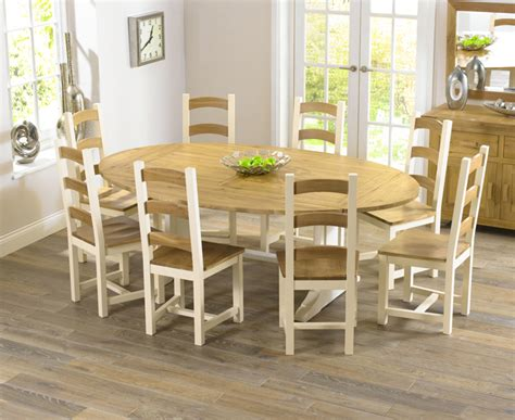farmhouse solid oak cream oval extending dining table   marino chairs set ebay