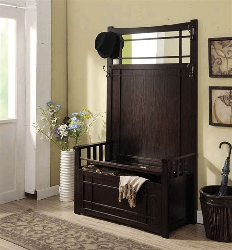 hallway bench with mirror west lake espresso mission style hallway storage bench