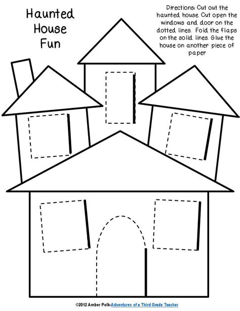 printable haunted house craft haunted house lift the flap template halloween prek