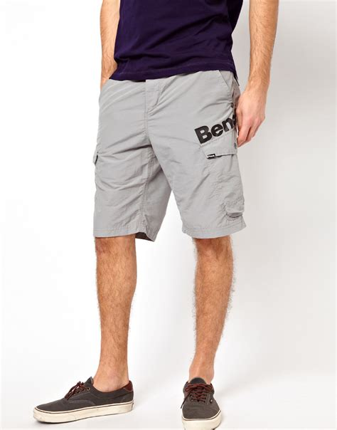 bench shorts mens bench cargo short in gray for men lyst