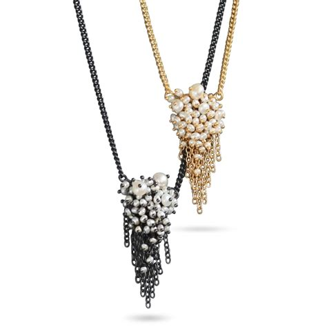 Kalung Square Gem Tassel Necklace gold and pearl tassel pendant necklace contemporary