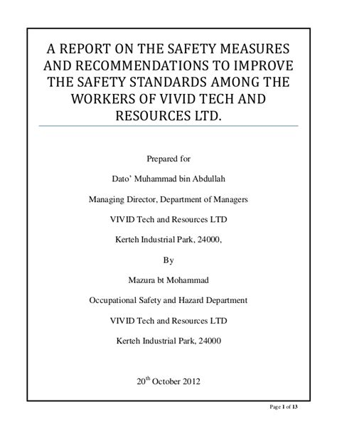 Safety Report Writing by Oumh 2203 Report Writing The Write Up