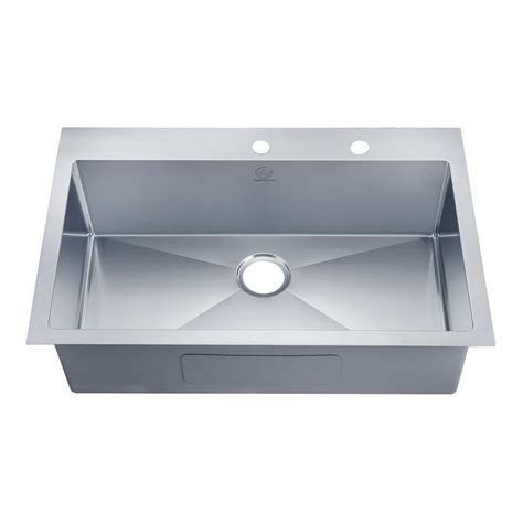 Overmount Kitchen Sinks Stainless Steel Glacier Bay Dual Mount Stainless Steel 33 In 4 Single Bowl Kitchen Sink In Satin Qk053