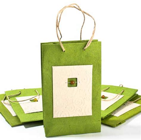 Handmade Paper Gift Bags - green handmade paper gift bags set of 10 sales