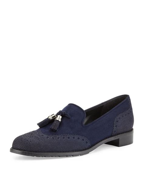 blue suede tassel loafers stuart weitzman guything suede tassel loafer navy in blue