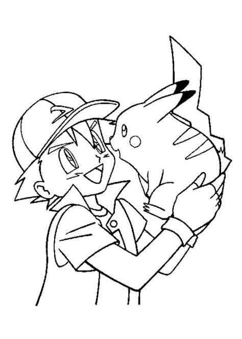 ash ketchum care with pikachu coloring page pokemon
