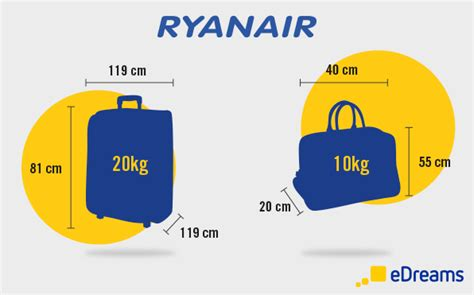 ryanair cabin baggage luggage and checked baggage allowance by airline