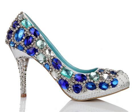 high heel blue green bling big rhinestone