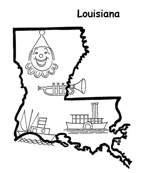 louisiana map coloring page usa printables state outline shape and demographic map