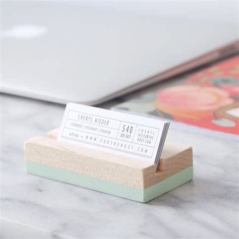 wood office desk business card holder office accessories wood business card holder choose your color painted