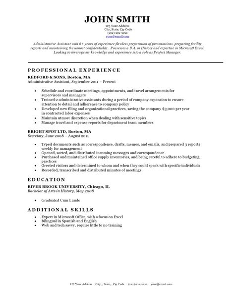 Resume Template Exles by Resume Templates Resume Cv