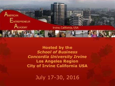 Uci Mba Submitted by American Entrepreneur Academy Aea Summer Business