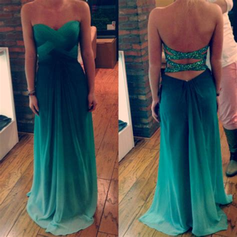 ombre out of fashion dress prom blue sparkle prom dress pretty ombre