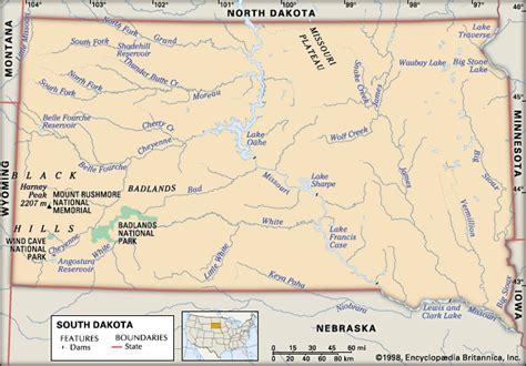 physical map of dakota south dakota physical features encyclopedia