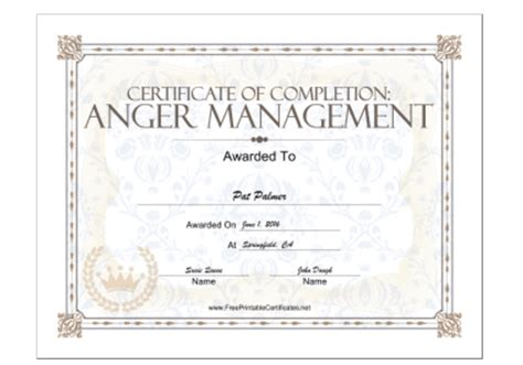 anger management certificate template 18 free certificate of completion templates utemplates