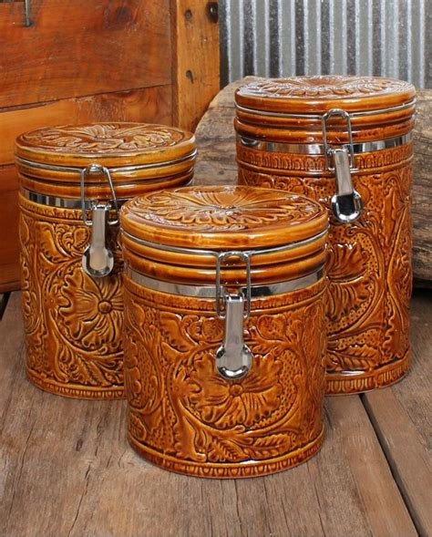 western kitchen kanister sets tooled 3 canister set ranch house decor