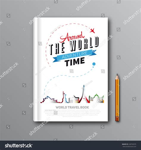 book cover template illustrator world travel book template design can stock vector
