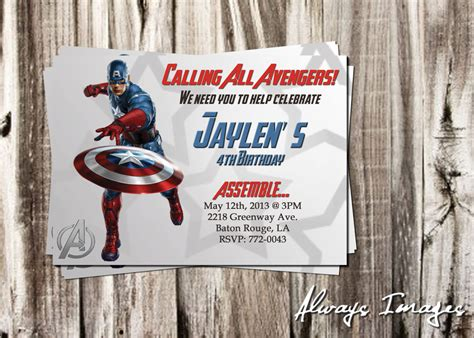 Items Similar To Birthday Invitation Template Captain America Avengers 5x7 Or 4x6 W Bonus Free Captain America Invitation Templates
