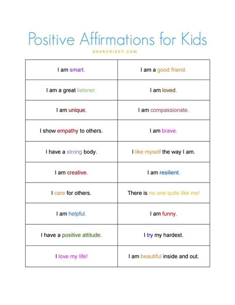 printable self esteem quotes positive affirmations for kids free printable jars for