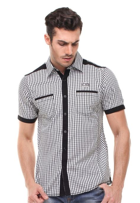 Lgs Shirt Jsh 390 S417f 398 C slim fit kemeja fashion motif kotak putih