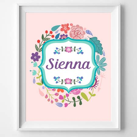 printable name poster personalised floral name poster print wall personalised
