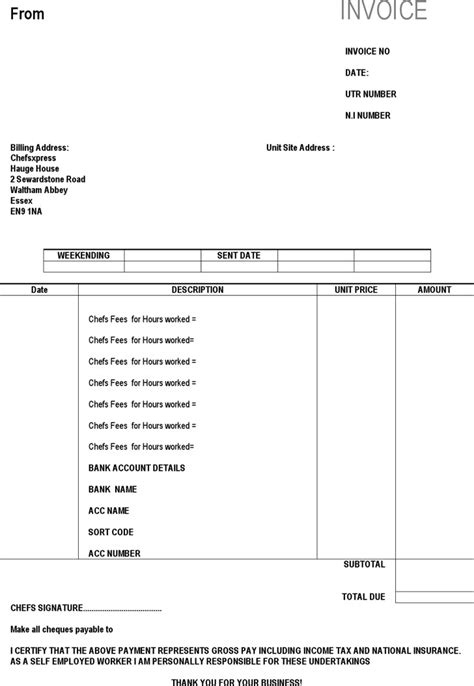 invoice template self employed self employed invoice templates free premium