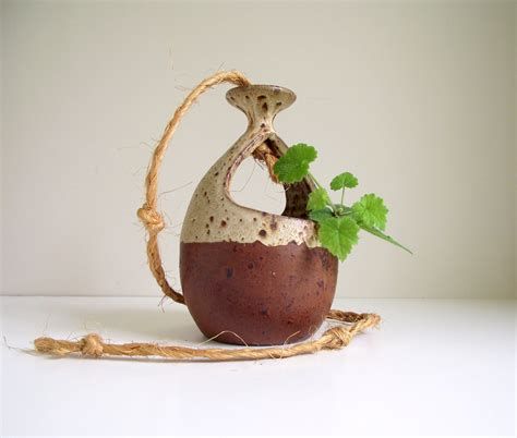 Handmade Flower Pots - hanging planter flower pot brown handmade pottery
