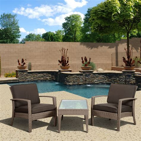 corfan deluxe 3 wicker patio conversation set grey