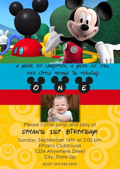 create own mickey mouse 1st birthday invitations free natalies