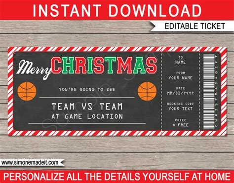 christmas basketball ticket gift surprise basketball game ticket printable voucher