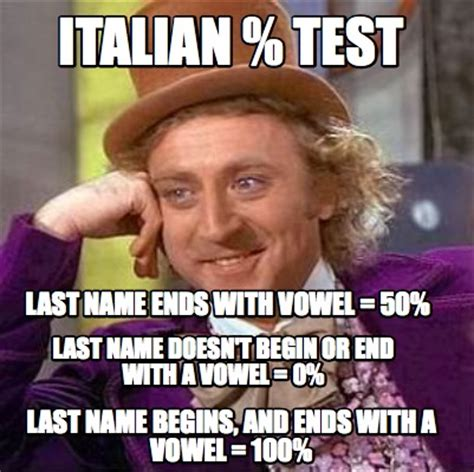 Meme S - meme creator italian test last name ends with vowel