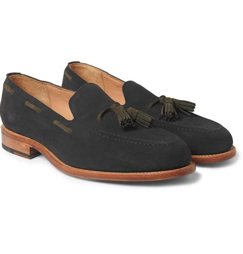 blue suede loafers for oliver spencer suede tasselled loafers in blue for lyst