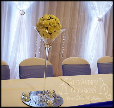 Martini Vase Centrepiece by Table Centrepiece Hire For Weddings Events In
