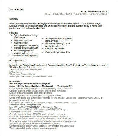 resume sles for self employed individuals 10 photographer resume templates pdf doc free
