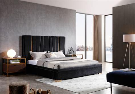 modrest evonda modern black velvet brass bed beds
