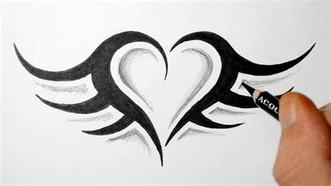 easy heart tattoo designs how to draw a simple tribal with wings