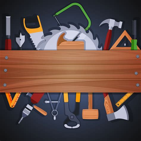 carpentry tools background   vector art