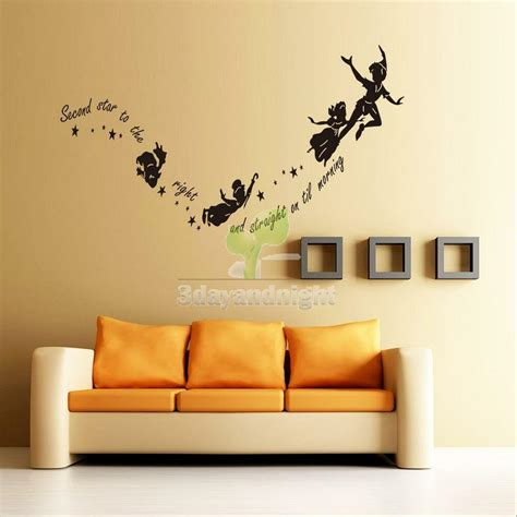 wall stickers decal peter pan fairy vinyl mural home bedroom decor diy removable ebay