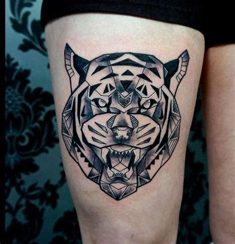 modern ink tattoo modern style black ink thigh of angry tiger