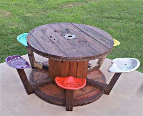 wire spool bench cable spool recycled upcycle art